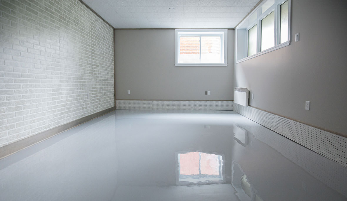 White epoxy floor is a basement